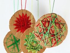 cool yarn and cardboard craft.....could make for halloween, christmas or easter