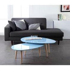 GALET Table basse 98 cm laquée bleue - Achat / Vente TABLE BASSE GALET Table basse bleue - Cadeaux de Noël Cdiscount