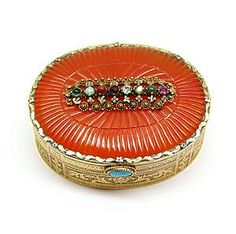 Antique gold, cornelian and gem set box, Swiss c.1820