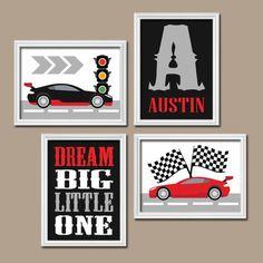 RACE CAR Wall Art, CANVAS or Prints Cars Boy Nursery, Transportation Theme, Dream Big, Custom Boy Name Set of 4 Big Boy Bedroom Decor by TRMdesign on Etsy https://www.etsy.com/listing/205240438/race-car-wall-art-canvas-or-prints-cars