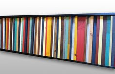 "Natural Wood Wall Art - ""Cape Cod""- Reclaimed Wood Stripes in Red, Yellow, Brown, Teal - 16""x55"""