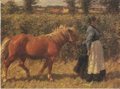 CHARLOTTE'S PONY POSTCARD - WOMAN LEADS HORSE - SIR ALFRED MUNNINGS ARTIST