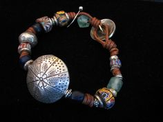Picture of Silver and Vintage Trade Bead Bracelet