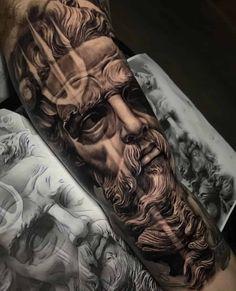 Lion Tattoo Sleeves, Forearm Sleeve Tattoos, Best Sleeve Tattoos, Tattoo Sleeve Designs, Poseidon Tattoo, Zues Tattoo, Greek God Tattoo, Greek Tatoos, Nautical Tattoo Sleeve