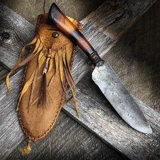 Hand Forged Knife, Neck Knife, Bushcraft Knives, Spring Steel, Knife Handles, Handmade Knives, Mountain Man, Custom Knives, Leather Tooling
