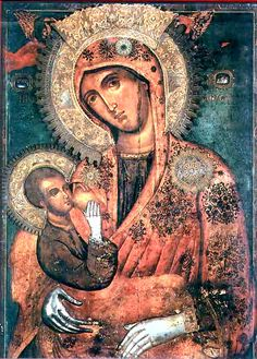 """On July the Icon of the Virgin """"Galaktotrophousa"""" (Γαλακτοτροφουσα, meaning """"the Milk-Giver"""") is celebrated. The Icon shows the Mother of God breast-feeding Christ. Byzantine Icons, Byzantine Art, Blessed Mother Mary, Blessed Virgin Mary, Religious Icons, Religious Art, Catholic Art, Monastery Icons, Russian Icons"""