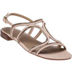 STUART WEITZMAN Samoa Adobe Vachetta Sandal ($295) ❤ liked on Polyvore featuring shoes, sandals, adobe leather, stuart weitzman shoes, ankle wrap shoes, ankle tie shoes, embellished shoes and ankle tie sandals