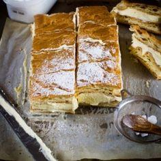 Vanilla Custard Slice  - Karpatka: Polish Vanilla Custard Slice made with custard and whipped cream