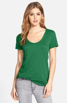 Halogen® Relaxed Slub Knit U-Neck Tee (Regular & Petite) available at #Nordstrom