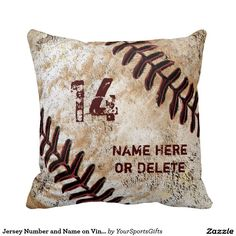 Awesome Vintage Baseball Throw Pillow Personalized - pillows home decor diy cyo pillow design Vintage Baseball Room, Vintage Sports Decor, Vintage Sports Nursery, Gifts For Baseball Players, Baseball Gifts, Baseball Teams, Softball, Baseball Stuff, Baseball Dugout