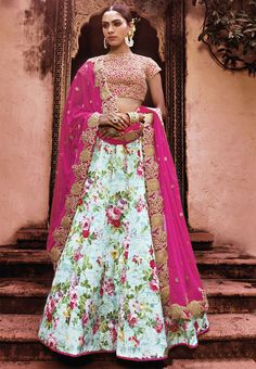 Turquoise Floral Print Lehenga Choli for Girls 2016