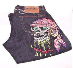 Ed Hardy Pirate Skull Jeans Lot 2008  Men s 34 X 34 Christian Audigier  Christian 7fd9442403d9b