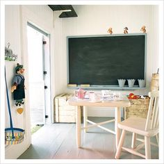 play room-love that crate storage and enormous chalkboard