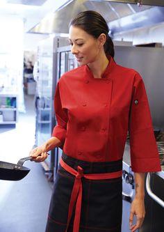 Red #unisex chef jacket 3/4 sleeve