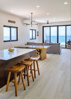 Mix of modern & Mexican flair. We give buyers 3 options for all finishing items. #interior #design #condo #mexico #tile #quartz #quartzcountertops #kitchen #oceanviews #cancun #puertovallarta #follow #diy Sun Chair, Beach Village, Ocean Front Property, Living In Mexico, Beach Properties, Fresh Market, Bar Areas, Rooftop Terrace, Beach Condo
