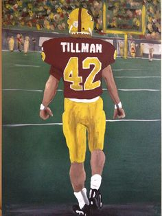 """Tillman"" #01 ASU Football painting based on tunnel entrance photograph of Pat Tillman. Spray paint and acrylic on canvas. Private collection. When I was working on this my son and his friends kept coming by and touching the painting so I made them help me with the crowd in the background. Finger print people!"