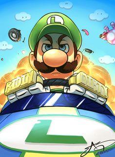 Luigi doesn't mess around, Mario Kart artwork by Shark E. Super Mario Bros, Mundo Super Mario, Super Mario World, Super Mario Brothers, Super Smash Bros, Mario Kart 8, Mario Und Luigi, Luigi And Daisy, Pokemon