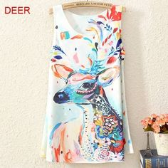 Deer Art Tank Top •Long •No wears, tears, or stains. •Perfect condition •You'll love this Tops Tank Tops