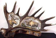 Hand carved moose horn by John Austin