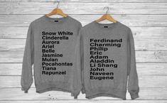Disney Prince and Princess Names - Crew neck sweater / Couples shirts / Couple shirts/ Best friend shirt/ Group shirts/ couples sweaters by boutiqueRus on Etsy