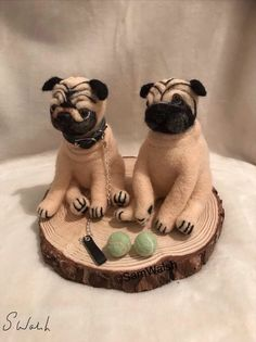 Needle Felted Set of Two Soft Sculpture Pugs. Two tennis balls and one collar and lead. Needle Felted Animals, Felt Animals, Needle Felting, Baby Toothbrush, Felt Dogs, Cute Pugs, Ready To Play, Mixed Breed, Soft Sculpture