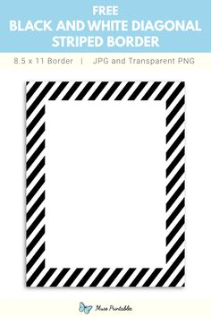 Printable Black And White Diagonal Striped Page Border Frame Border Design, Page Borders Design, Printable Border, Printable Letters, Doodle Borders, Borders For Paper, Free Christmas Borders, Free Teaching Resources, Note Paper