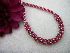 Flower Garden Kumihimo Necklace by allstrungout1 on Etsy, $29.00