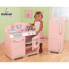 KidKraft Retro Kitchen and Refrigerator,Pink * Continue to the product at the image link.