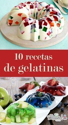 La gelatina es uno de los postres que se consumen desde hace mucho tiempo. Este alimento está repleto de aminoácidos, es decir, proteínas complejas que son muy nutritivas.A continuación, te compartimos 10 recetas para preparar las gelatinas más fáciles. Jello Desserts, Sweet Desserts, Sweet Recipes, Delicious Desserts, Yummy Food, Tasty, Gelatin Recipes, Jello Recipes, Mexican Food Recipes