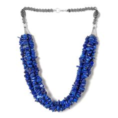 Lapis Lazuli Necklace (20 in) in Silvertone with Lobster Lock TGW 606.73 cts.