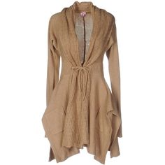 Scee By Twin-set Cardigan ($91) ❤ liked on Polyvore featuring tops, cardigans, sand, brown cardigan, long sleeve tops, wool tops, cardigan top and lace up front top