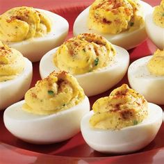 BEST Deviled Eggs -- 6 boiled eggs, 1/4 cup mayo, 1.5 TB sweet pickle relish, 1 tsp ground mustard, 1/8 tsp salt, 1/8 tsp pepper, paprika for color.  Cut eggs in half lengthwise.  Scoop out yolks & put in bowl.  Add all ingredients to bowl & mix.  Spoon egg mix into egg white halves.  Sprinkle lightly with paprika.  Optional:  Refrigerate 30 mins before serving to firm them up.