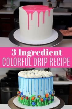 Colorful Drips - Easy Three Ingredient Recipe & Tutorial Want to learn how to make a colorful drip cake? This recipe for colored drips uses only three ingre Cake Frosting Recipe, Ganache Recipe, Frosting Recipes, Cake Icing Tips, Cake Decorating Techniques, Cake Decorating Tips, Cake Icing Techniques, Piping Techniques, Food Cakes