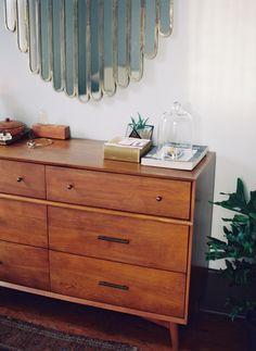 retro deco slatted mirror + mid century drawers