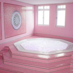 pink hot tub ...no, just no. I love pink, but this is just too much.