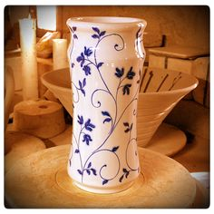 Beautiful blue and white vase by Cerámica Valenciana. Love the delicate floral design.