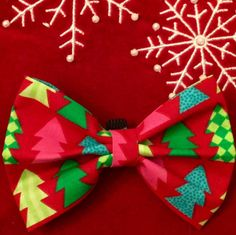 Christmas Tree Bow/Bow Tie by PawtyDog on Etsy