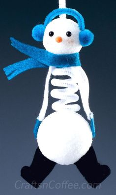 You can make this cute, Springy Snowman Ornament with two balls of Styrofoam brand foam and a chenille stem. Great gift idea, too. FOAM