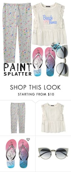 """Paint Splatters - Beach Time: 19/05/16"" by pinky-chocolatte ❤ liked on Polyvore featuring Uniqlo, Violeta by Mango and Aéropostale"