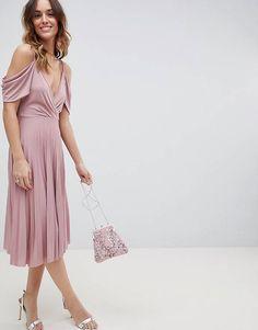 ASOS DESIGN cold shoulder cowl back pleated midi dress