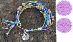 Fiber & Beads Bracelet - Pretty Things - Bead Soup Blog Party - Claire Hasemeier of Blue Quail Designs