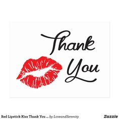 Red Lipstick Kiss Thank You Postcard Thank You Messages Gratitude, Thank You Wishes, Thank You Quotes, Thank You Cards, Thank You Images, Thank You Pictures, Lipstick Kiss, Appreciation Quotes, Thank You Postcards