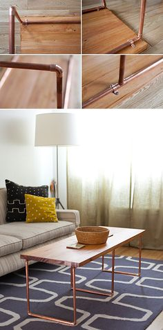 Sleek and Stylish DIY Coffee Tables • Lots of Ideas and Tutorials! Including from for me, for you, this nice DIY copper coffee table.
