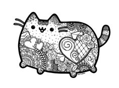 Pusheen inspired zentangle with mandalas.  Great coloring page!