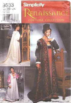 Simplicity Sewing Pattern 9533, sizes L-XL. New, uncut, out of print pattern, designed by Andrea Schewe, with complete instructions in English and French. This 10 pieces pattern includes a lined, floor length, coat in three variations with or without sleeves, train or shoulder roll.