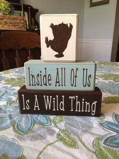 Where the wild things are wood sign blocks custom baby gift nursery new baby birthday shower centerpiece on Etsy, $26.95