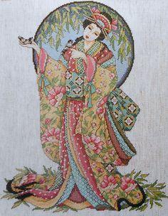 Joan Elliott Geisha ORIENTAL LADY GRACE Asian - Counted Cross Stitch Pattern Chart - fab. $6.75, via Etsy.