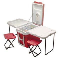 Portable cooler with seating for two