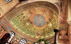 On rainy days like these, we try to warm up a bit with the intense colours of the landscape depicted in the apse of the Basilica of Sant'Apollinare in Classe, one of the jewels of the mosaic art in #Ravenna.