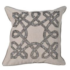 Hand Beaded Square Cushion Cover